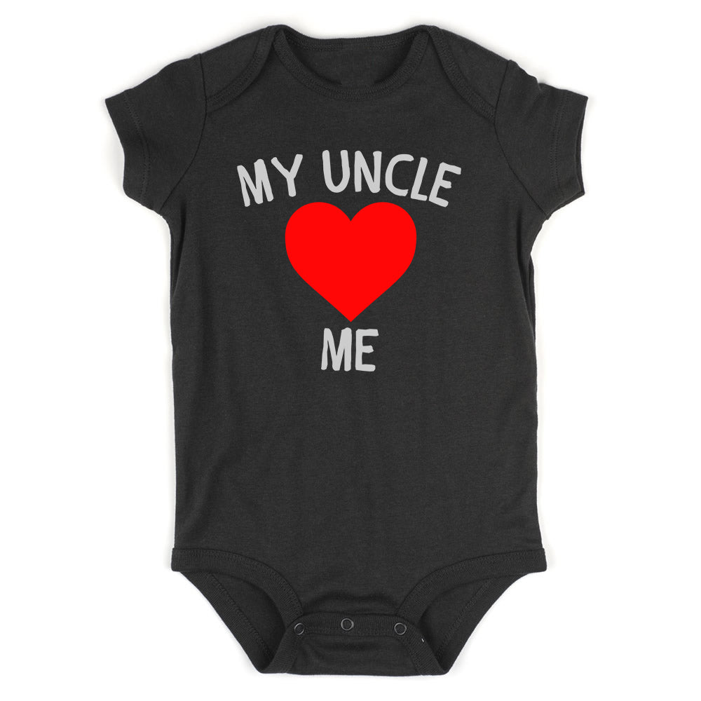 My Uncle Loves Me Baby Bodysuit One Piece Black