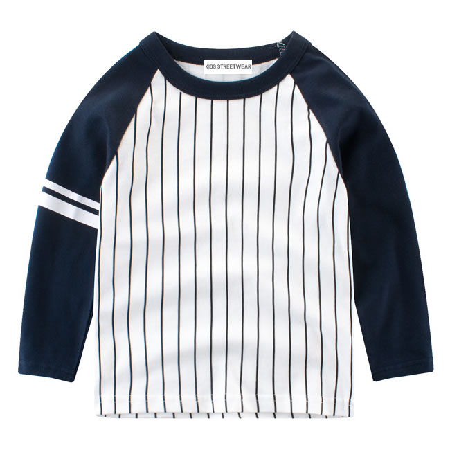 Navy Blue And White Pinstripe RM Toddler Boys Baseball Long Sleeve Shirt