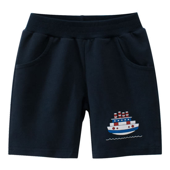 Navy Blue Ship Boat Toddler Boys Sweat Shorts