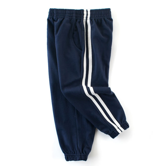 Navy Blue Classic Double Striped Toddler Boys Casual Pants