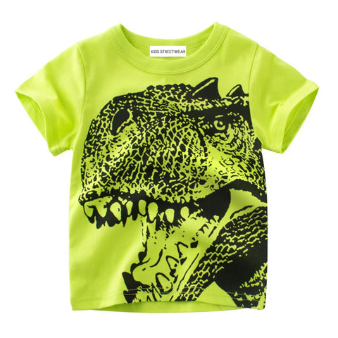 Neon Green Dinosaur Face Toddler Boys T-Shirt