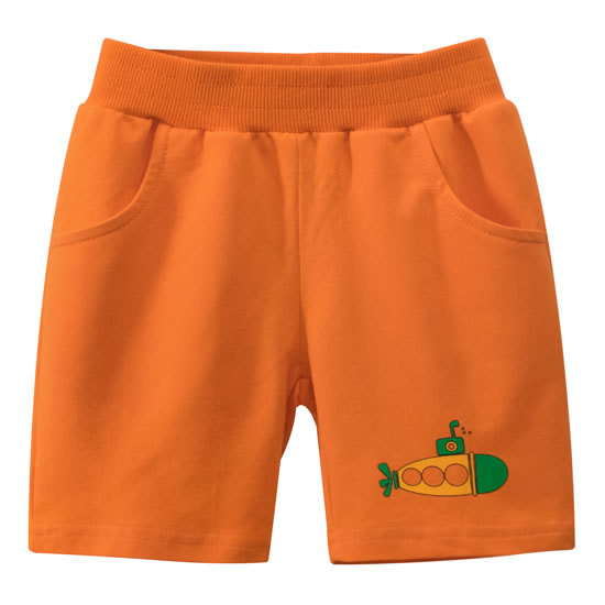 Orange Submarine Sea Toddler Boys Sweat Shorts