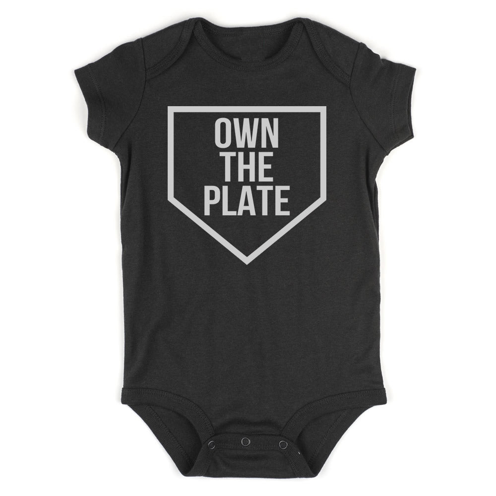Own The Plate Sports Baby Bodysuit One Piece Black