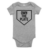 Own The Plate Sports Baby Bodysuit One Piece Grey