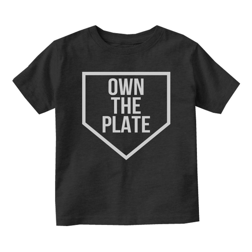 Own The Plate Sports Baby Toddler Short Sleeve T-Shirt Black