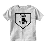 Own The Plate Sports Baby Toddler Short Sleeve T-Shirt Grey