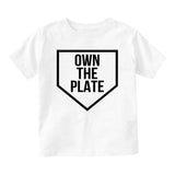 Own The Plate Sports Baby Toddler Short Sleeve T-Shirt White
