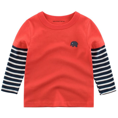 Pale Red Elephant Embroidered RM Toddler Boys Long Sleeve Shirt