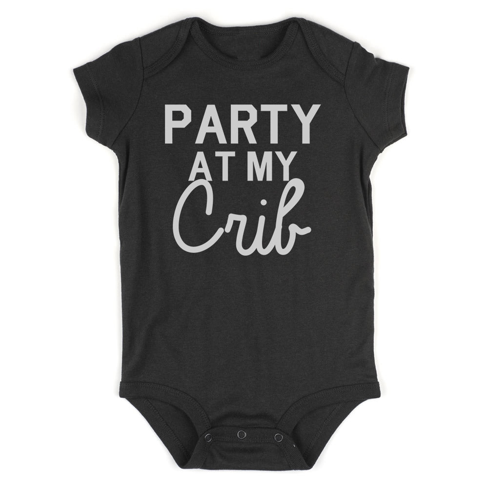 Party At My Crib Baby Bodysuit One Piece Black
