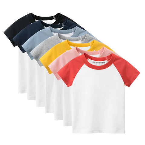 Toddler Boys Blank Short Sleeve Baseball Raglan T-Shirt