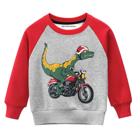 Red Dinosaur Riding Motorcycle RM Toddler Boys Raglan Crewneck Sweatshirt