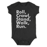 Roll Crawl Stand Walk Run Baby Bodysuit One Piece Black