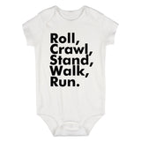 Roll Crawl Stand Walk Run Baby Bodysuit One Piece White