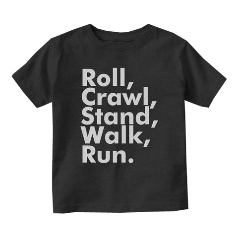 Roll Crawl Stand Walk Run Baby Infant Short Sleeve T-Shirt Black