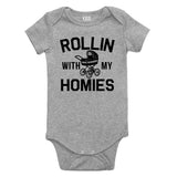 Rollin With My Homies Stroller Baby Bodysuit One Piece Grey