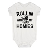 Rollin With My Homies Stroller Baby Bodysuit One Piece White