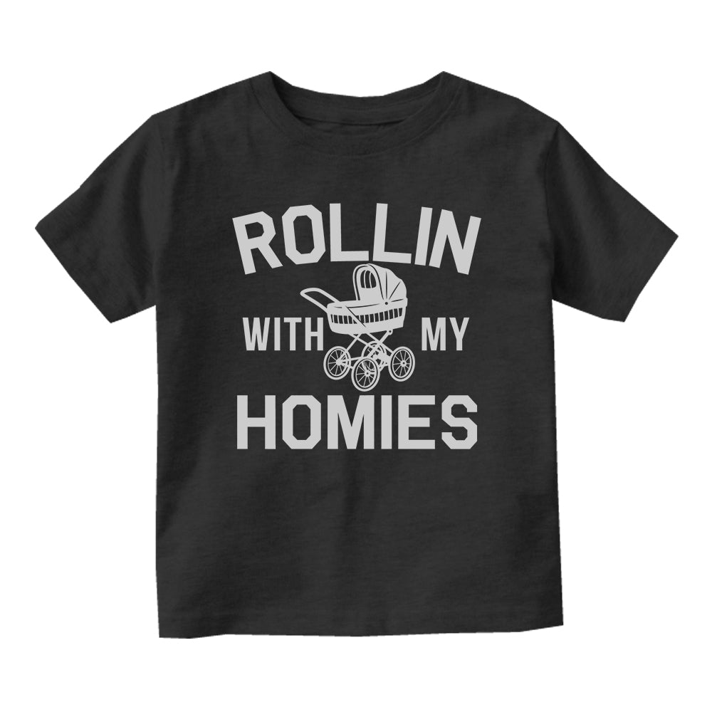 Rollin With My Homies Stroller Baby Toddler Short Sleeve T-Shirt Black