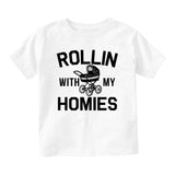 Rollin With My Homies Stroller Baby Infant Short Sleeve T-Shirt White
