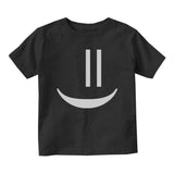 Smiley Emoticon Cute Baby Toddler Short Sleeve T-Shirt Black