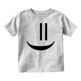 Smiley Emoticon Cute Baby Toddler Short Sleeve T-Shirt Grey