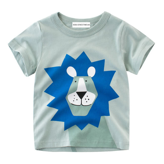 Blue Lion Animal Graphic RM Toddler Boys Short Sleeve T-Shirt