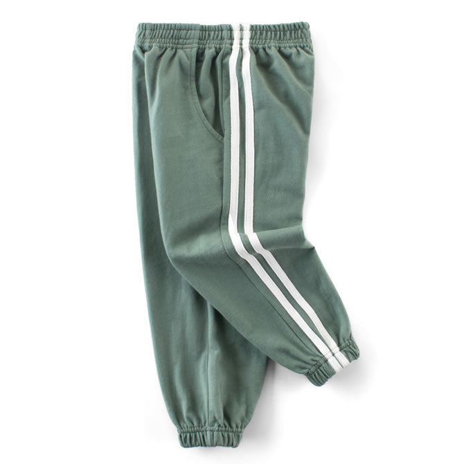 Soft Green Classic Double Striped Toddler Boys Casual Pants