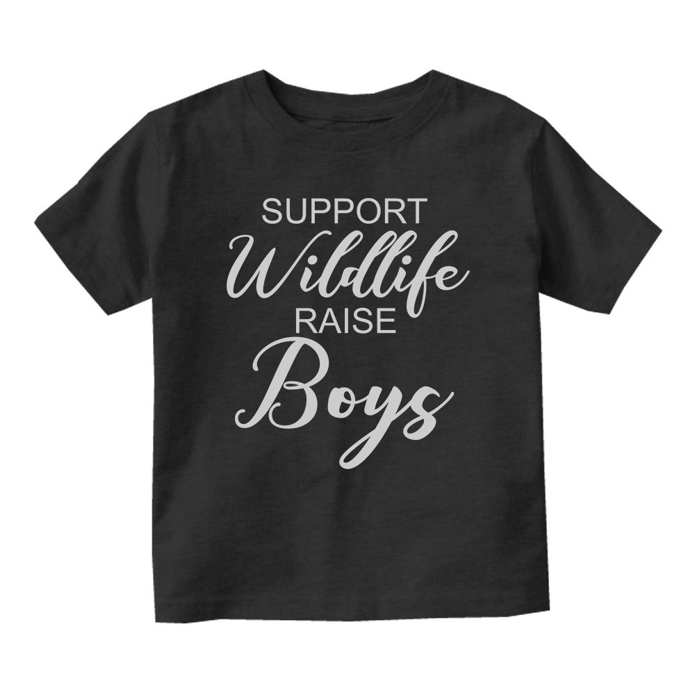 Support Wildlife Raise Boys Baby Infant Short Sleeve T-Shirt Black