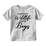 Support Wildlife Raise Boys Baby Infant Short Sleeve T-Shirt Grey