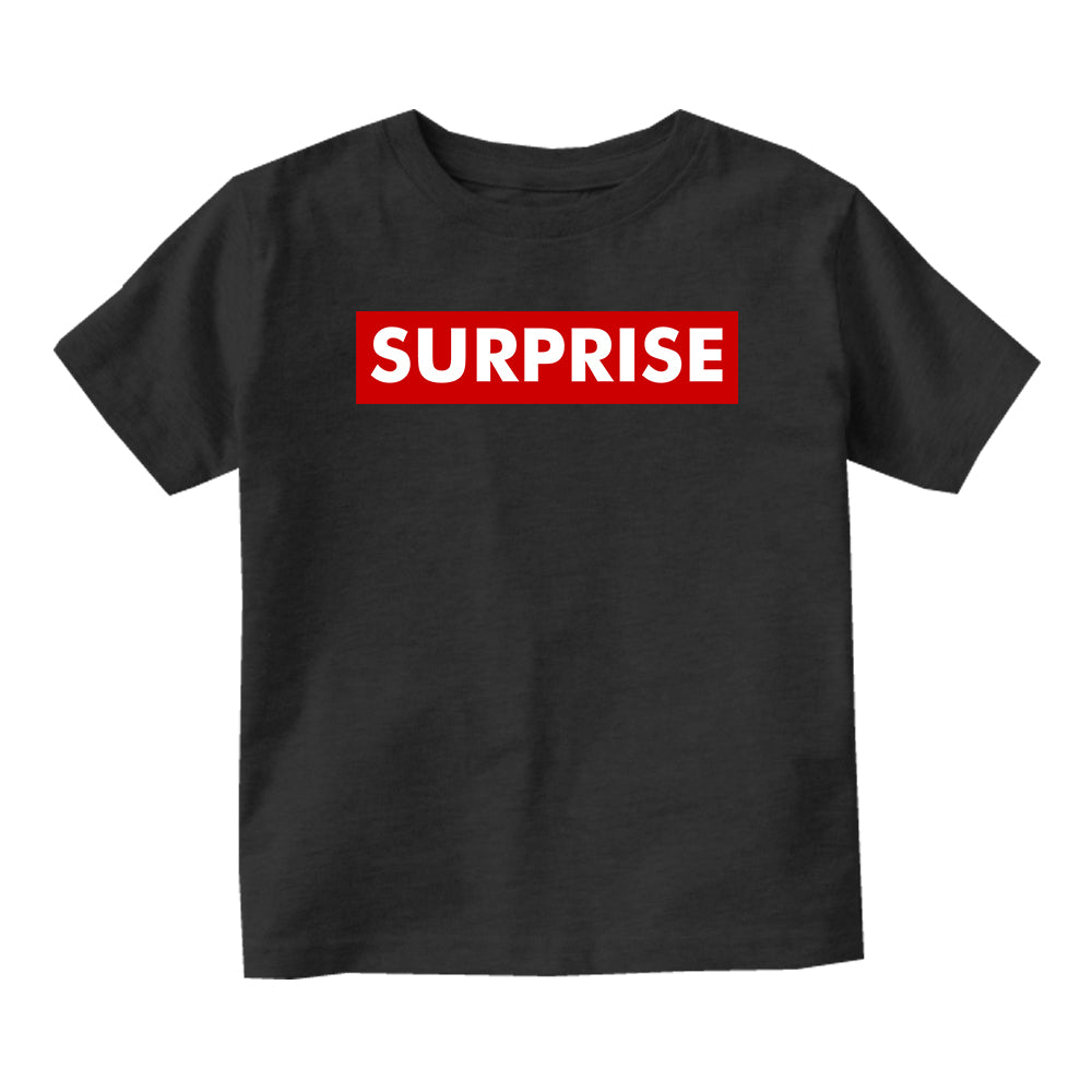 Suprise Red Box Announcement Baby Toddler Short Sleeve T-Shirt Black