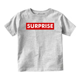 Suprise Red Box Announcement Baby Toddler Short Sleeve T-Shirt Grey