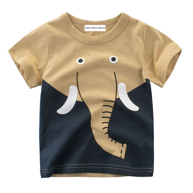 Big Elephant Face Graphic RM Toddler Boys Short Sleeve T-Shirt
