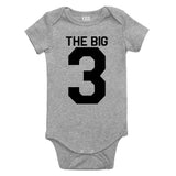 The Big 3 3rd Birthday Party Baby Bodysuit One Piece Grey