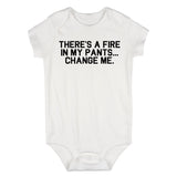 Theres A Fire In My Pants Baby Bodysuit One Piece White
