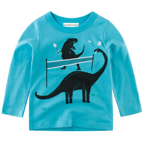 Turquoise Blue Dinosaur Tennis RM Toddler Boys Long Sleeve Shirt