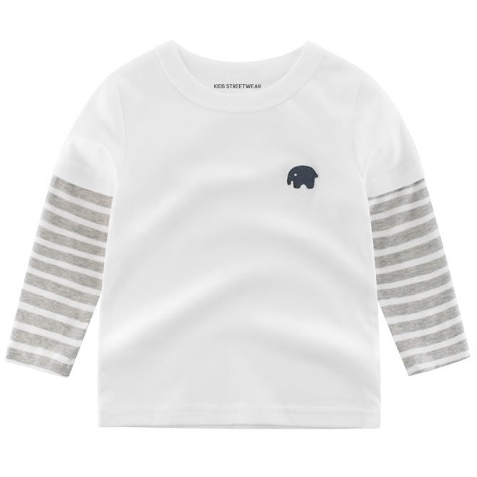 White Elephant Embroidered RM Toddler Boys Long Sleeve Shirt