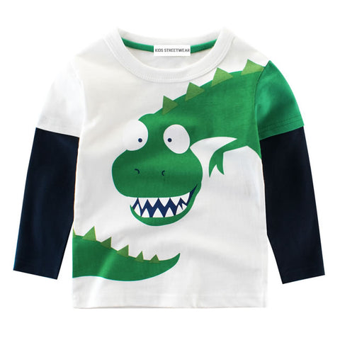White Green Funny Dinosaur RM Toddler Boys Long Sleeve Shirt