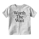 Worth The Wait Adoption Baby Toddler Short Sleeve T-Shirt Grey