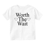 Worth The Wait Adoption Baby Toddler Short Sleeve T-Shirt White