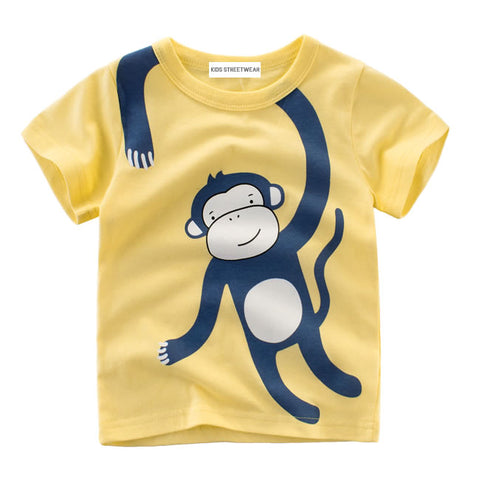 Yellow Monkey Graphic RM Toddler Boys Short Sleeve T-Shirt