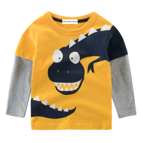 Yellow Blue Funny Dinosaur RM Toddler Boys Long Sleeve Shirt