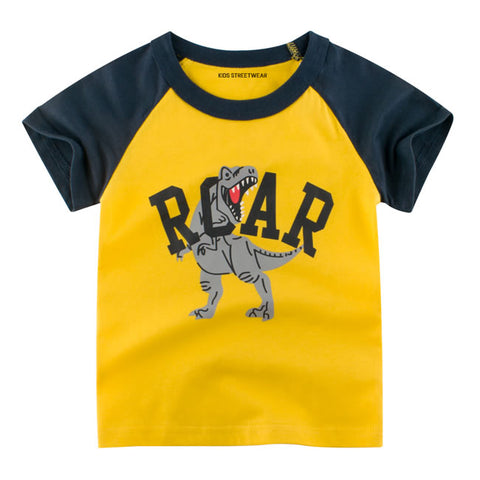Yellow Roar T-Rex Graphic RM Toddler Boys Raglan T-Shirt