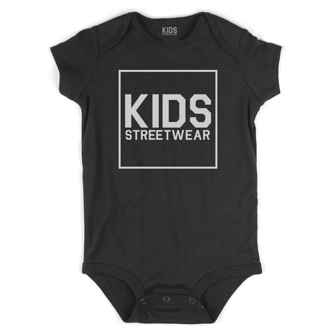 Big Kids Streetwear Logo Infant Onesie Bodysuit in Black