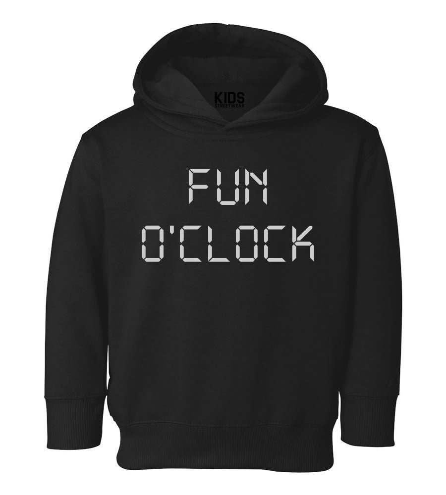 Fun O'Clock Toddler Kids Pullover Hoodie Hoody in Black