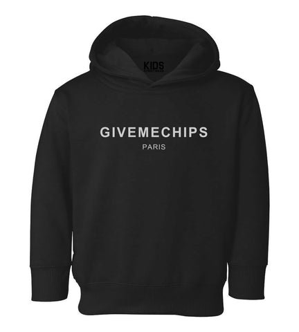 Give Me Chips Paris Toddler Kids Pullover Hoodie Hoody in Black