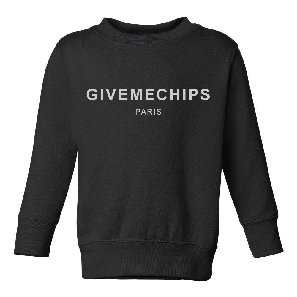 Give Me Chips Paris Toddler Kids Sweatshirt in Black