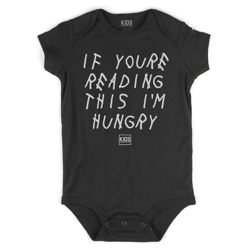 If Youre Reading This I'm Hungry Infant Onesie Bodysuit in Black