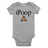 iPoop Poop Emoji Baby Bodysuit One Piece Grey