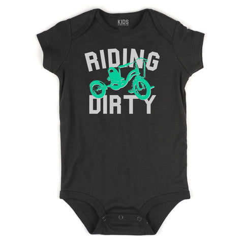 Riding Dirty Tricycle Infant Onesie Bodysuit in Black