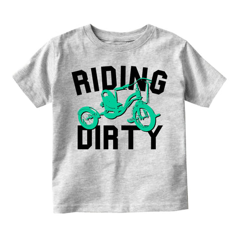 Riding Dirty Tricycle Infant Toddler Kids T-Shirt in Grey