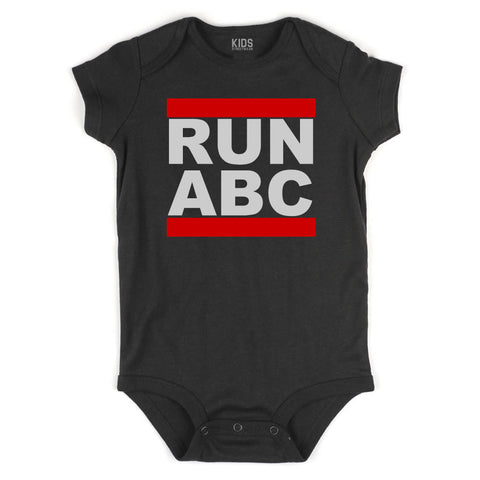 RUN ABC DMC Infant Onesie Bodysuit in Black